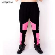 Nuevo Otoño e Invierno Jazz mujeres hombres hip hop Harem 100% pantalones  de algodón negro Pink Patchwork sweatpants del desgast. 5be35cfd01d