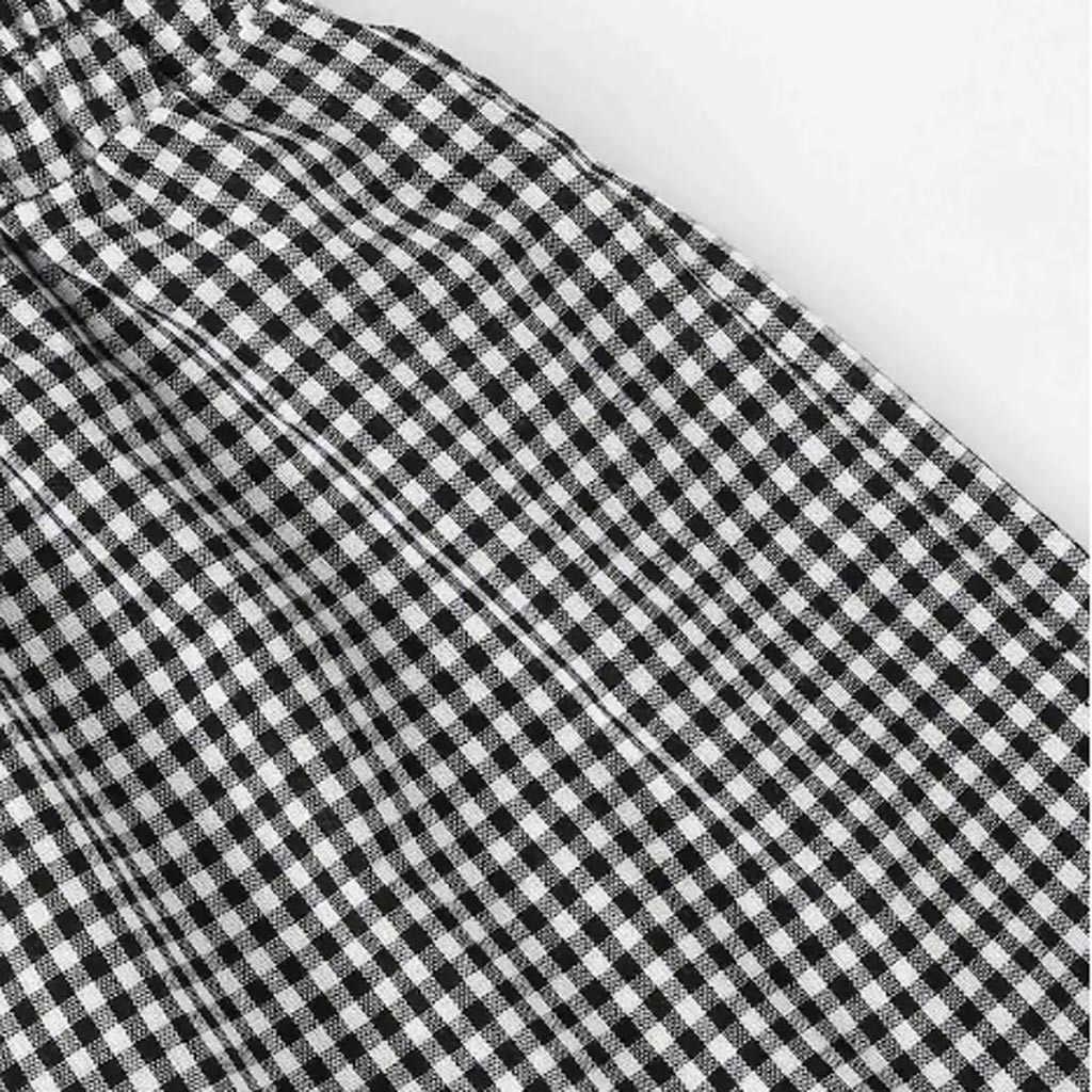 ファッション女性チェック柄プリント半袖包帯 v ネックブラウス + ショーツホットパンツセットスーツ conjuntos デ mujer
