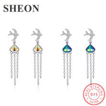SHEON 925 Sterling Silver Lovely Swallow Crystal Drop Earrings Long Tassel Fine Women Jewelry Valentines Day 2 Colors