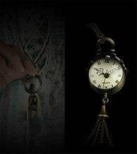 New Arrive Vintage Bronze Quartz Ball Glass Pocket Watch Necklace Chain Steampunk for women Gift 1 pcs