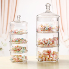 Transparent Glass Three-layer and four-layer candy cans with Wedding dessert decoration candy, snacks, dried fruit jar 4PCS/set