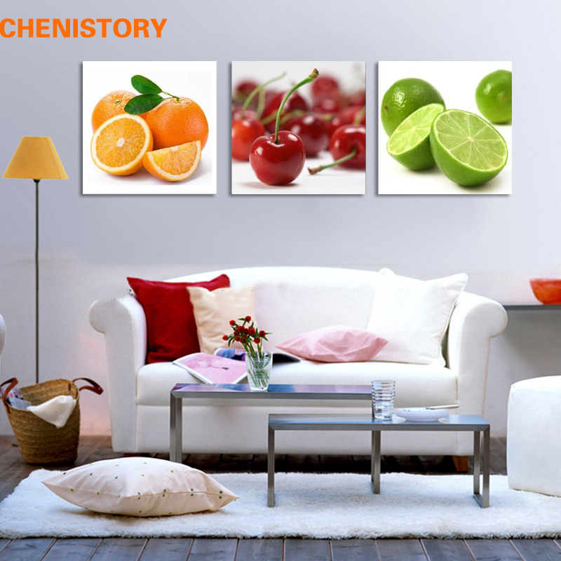 Unframed 3pcs Fruit On Table Kaffir Lime And Cherry Modern Home Decoration For Kitchen Wall Art Picture Paintings