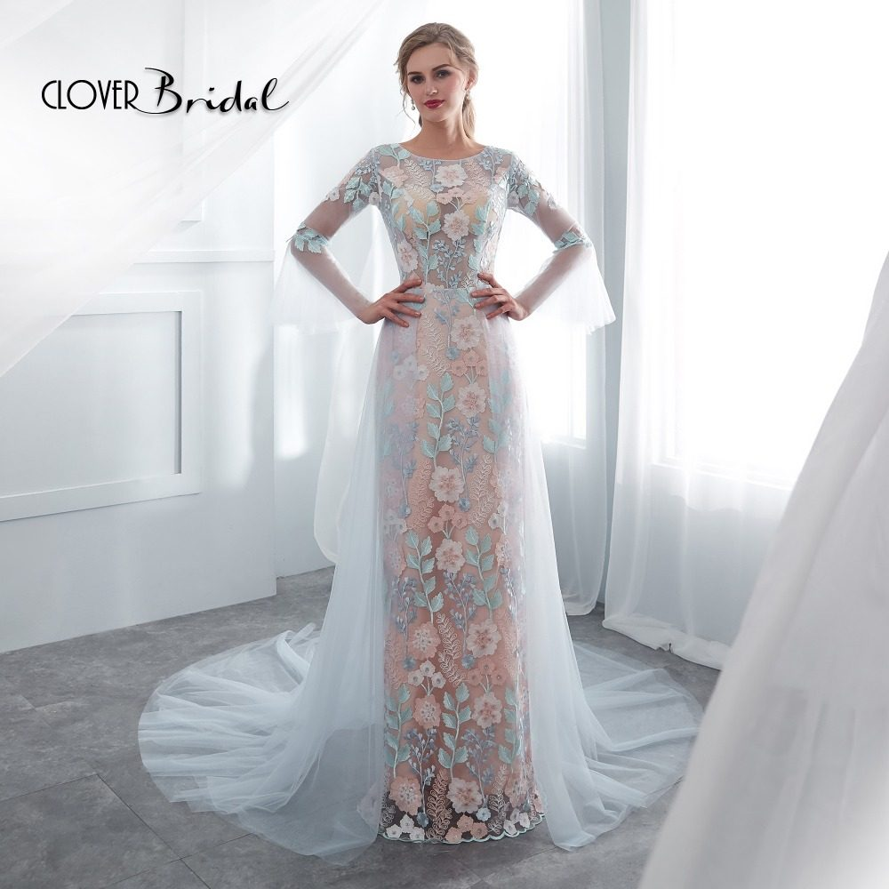 CloverBridal Summer Latest Inexpensive Worthy Long Bugle Sleeves Colors  Lace Light Blue Tulle Evening Dresses 2018 356d6061761b