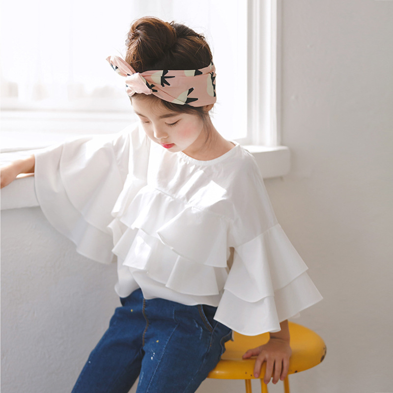 Toddler Girl Ruffle Top 2018 Spring New Kids Girls Blouses and Shirts Teenage Girls Blouses Designs Children White Cotton Shirts normal blouse designs