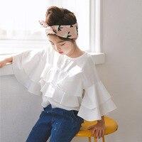Menina da criança Ruffle Top 2018 Nova Primavera Crianças Meninas Blusas e Camisas Meninas Adolescentes Projetos Blusas Crianças Camisas De Algodão Branco