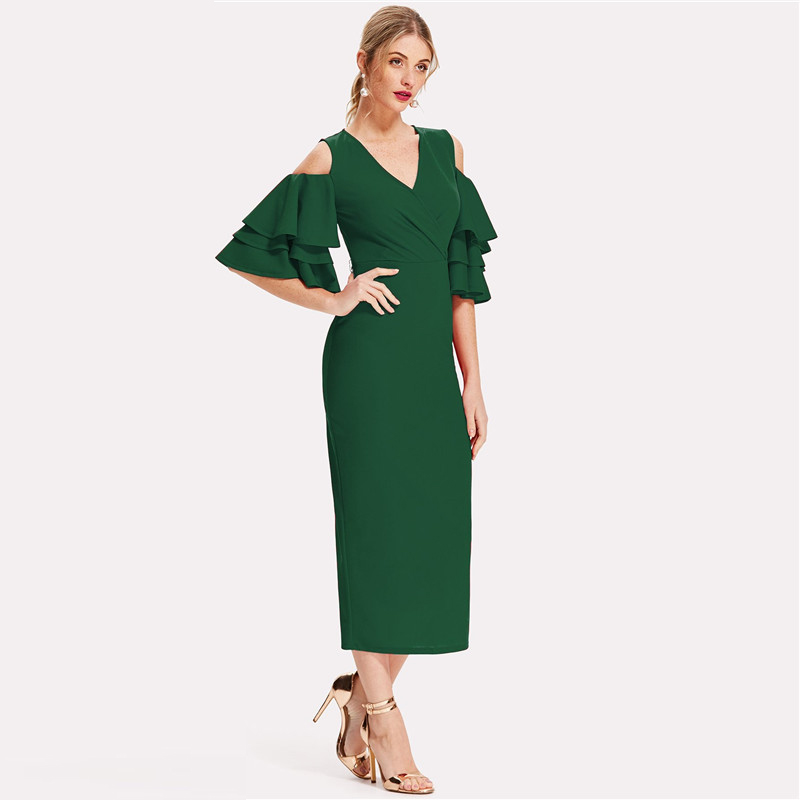 COLROVIE Green Cold Shoulder Ruffle Sleeve Belted V Neck Split Party Dress Women 2018 Autumn Solid Sexy Midi Bodycon Dresses 7