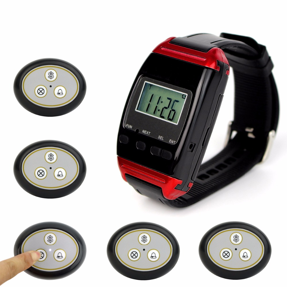 Restaurant Pager Wireless Calling System Paging System with 1 Watch Receiver + 5 Call Button F4487H restaurant call bell pager system 4pcs k 300plus wrist watch receiver and 20pcs table buzzer button with single key