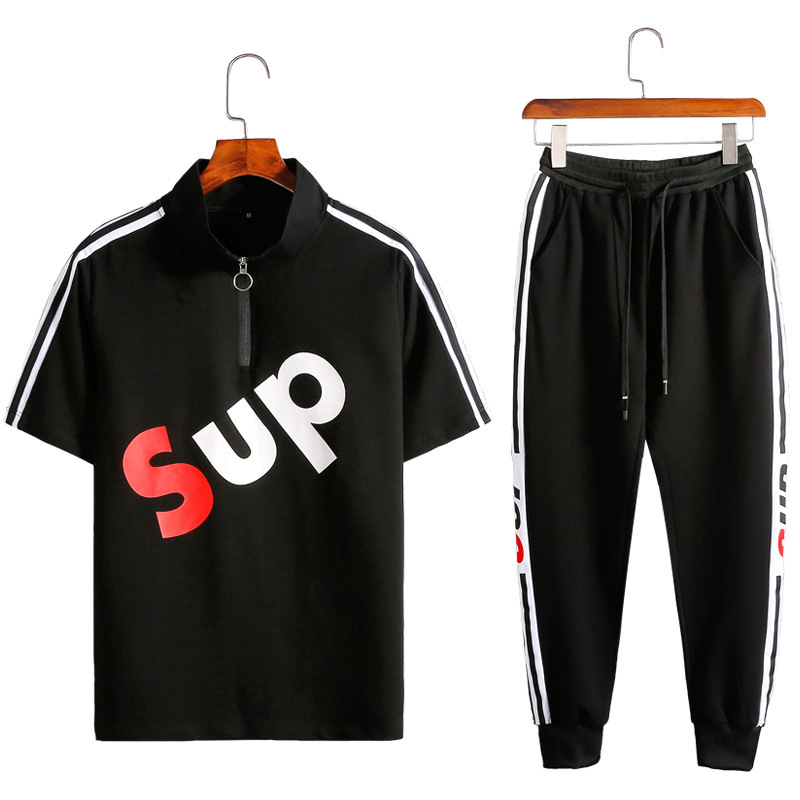 2019 Summer New Short Sleeve Shirt+Pants 2pcs Men Sportswear Suit Fashion Letter Print Sweatshirt Plus Size Striped Tracksuit