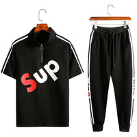 2019 Summer New Short Sleeve Shirt+Pants 2pcs Men Sportswear Suit Fashion Letter Print Sweatshirt Plus Size Striped Tracksuit