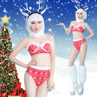 new sexy DS performance Christmas party club sexy DJ singer GOGO lead dance costume stage set with faux fur for woman