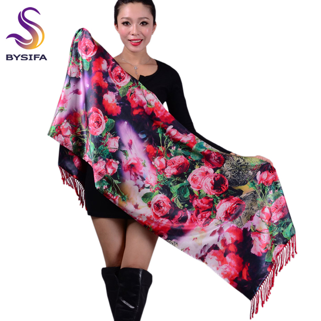 Winter Rose Pattern Scarves Women Red Silk Scarf Shawl High Quality Red Pure Silk Double Faced Silk Wraps Scarves 180*53+10cm