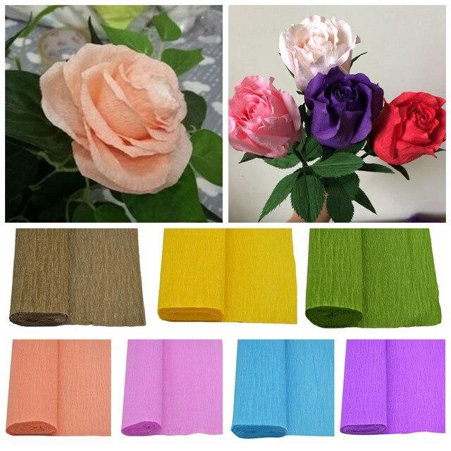 DIY Crinkled Paper Seni Kerajinan Membuat Bunga 1 P 25 250 Cm Crepe Kertas  Flores b119b28318