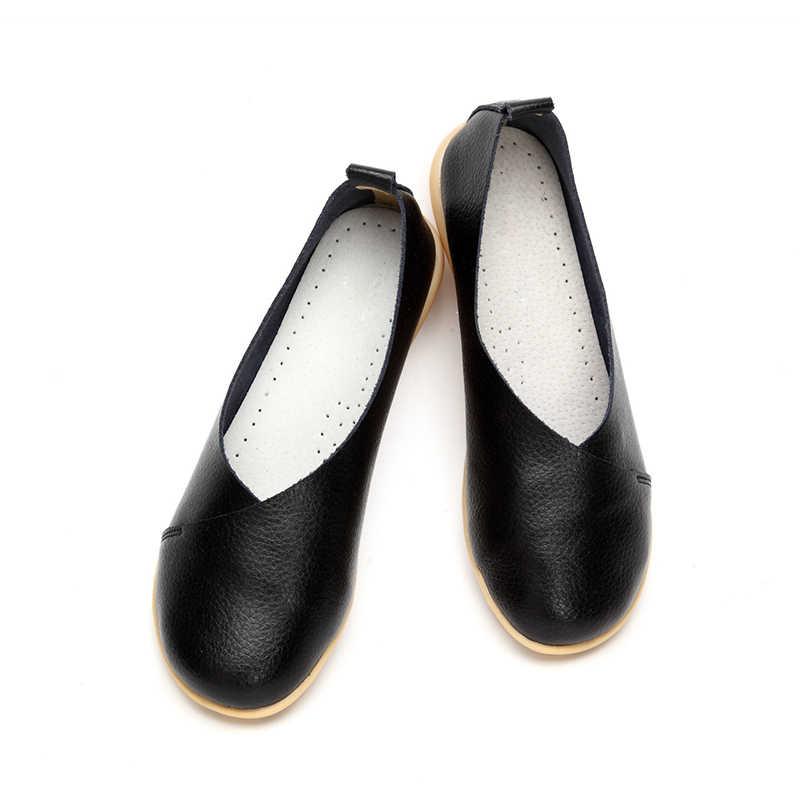 Plardin/2019 ручной работы из кожи для женщин; Большие размеры швейная Туфли без каблуков, Мокасины, лоферы, балетки Для женщин; удобная мягкая повседневная обувь