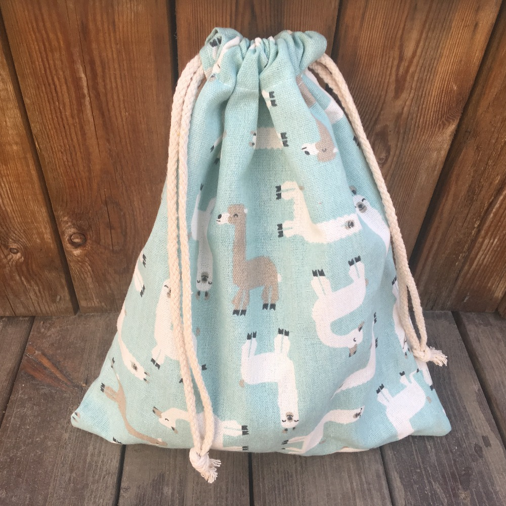 YILE 1pc Cotton Linen Drawstring Multi-purpose Pouch Party Gift Bag Printed Alpaca YL9128d