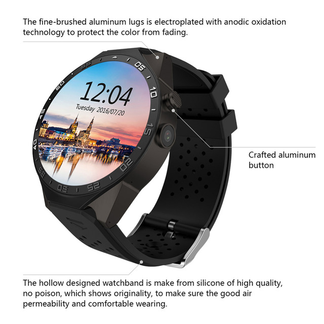 095369b27 New KW88 3G WIFI Men'Smartwatch Cell Phone All-in-One Bluetooth Smart Watch  Android 5.1 SIM Card GPS Camera Heart Rate Monitor