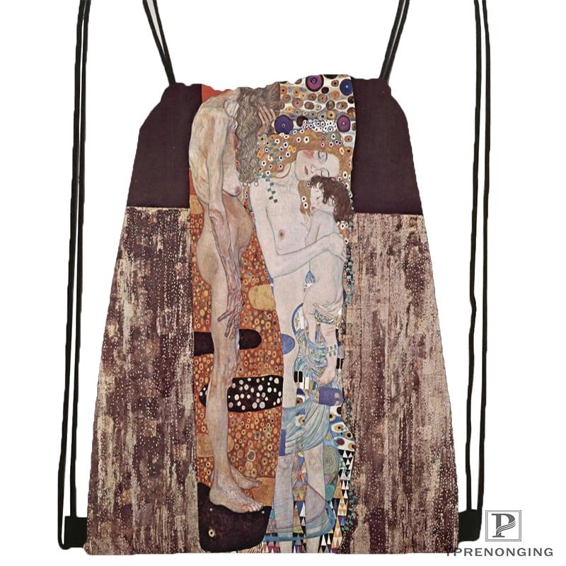 Custom Gustav Klimt Painting Drawstring Backpack Bag Cute Daypack Kids Satchel (Black Back) 31x40cm#180531-02-65