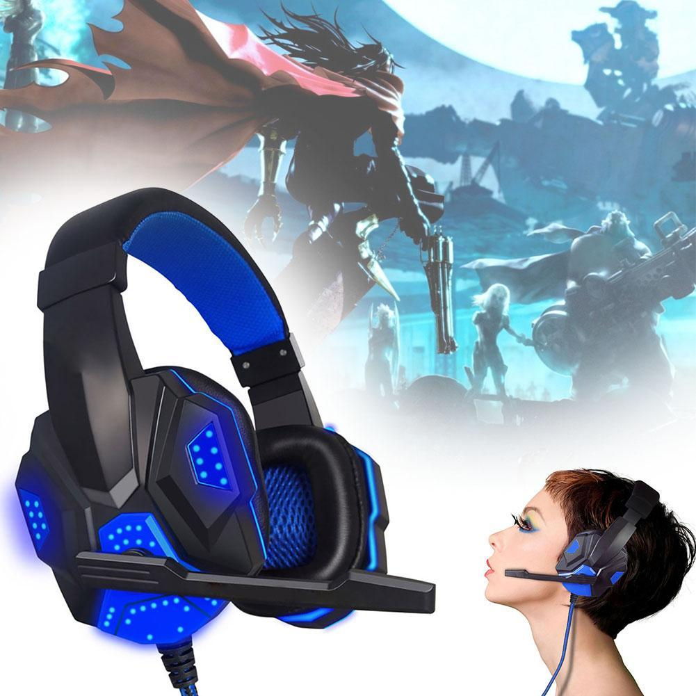 Anti-noise LED Lights Stereo bass Gaming Headset For PC Gamer encouter Glow Headphones With MIC USB+3.5mm Audio Cable blue A273 top quality xiberia t19 vibration gaming headset with mic super stereo bass pc gamer headphones with led light for pc computer