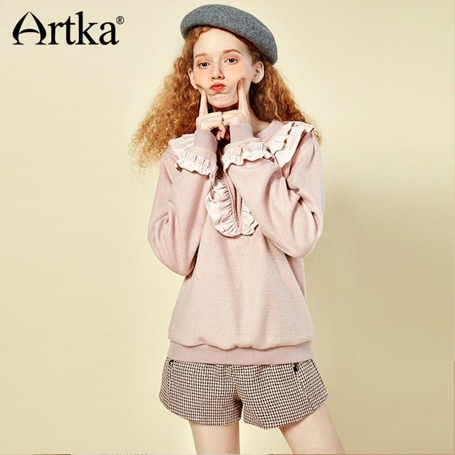 ARTKA 2018 Autumn New Women Solid Light Pink Ruffled Pullovers O-neck Full Sleeve Casual Short Hoodies VA10279D