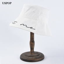 USPOP 2019 New bucket hats women men simple letter embroidery hat unisex casual wide brim sun white female