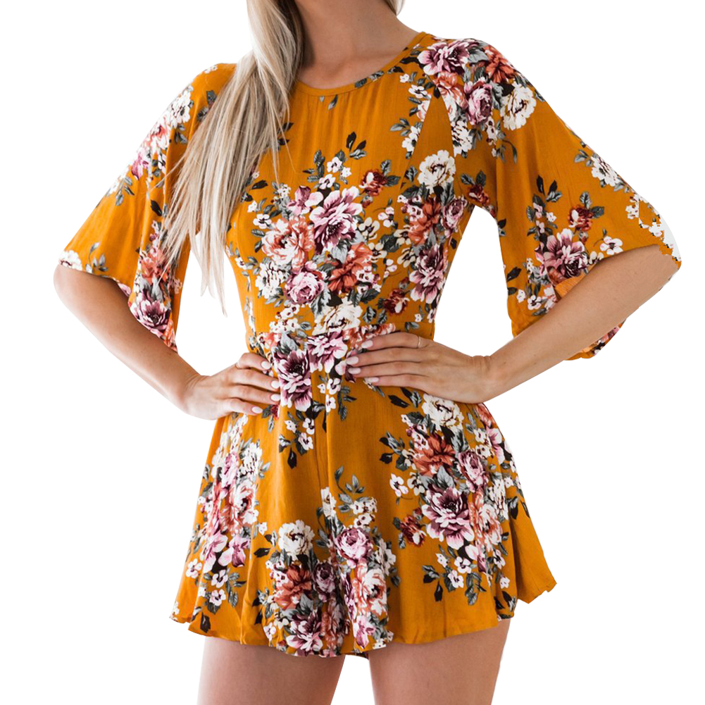 Summer Woman Playsuits One-Piece Elegant Breathable Floral Round Neck Half Sleeve Chiffon Print Casual Jumpsuit