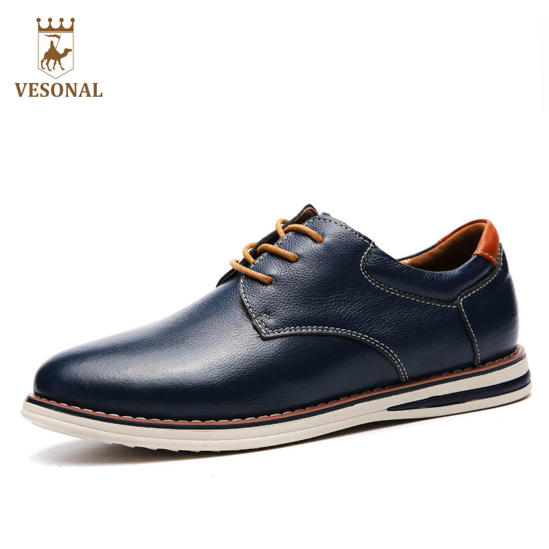VESONAL Brand Hot Sale 2017 New Casual Man Footwear Male Shoes For Men Adult Quality Autumn Walking Breathable Genuine Leather new 2016 medium b m massage top fashion brand man footwear men s shoes for men daily casual spring man s free shipping