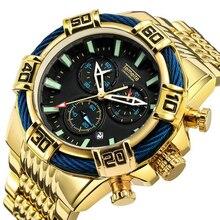 купить Golden Mens Watches Top Brand Luxury Quartz Watch Men Chronograph Military Waterproof Sports Wrist Watch Relogio Masculino по цене 1815.86 рублей