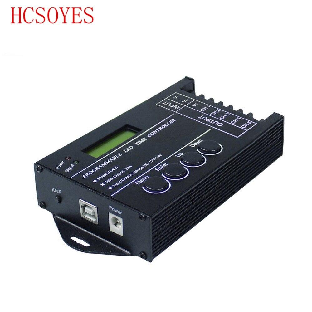RGB LEVOU Controlador de Tempo programável 5 TC420 5channel Saída Total 20A Ânodo Comum Programável para led strip módulo DC12V/ 24 V