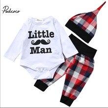 83f8e7cbc Moda lindo bigote pequeño hombre bebé recién nacido Niños manga larga traje  Tops + Plaid Pantalones + sombrero de Punto 3 unids .