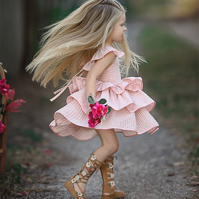 Baby Girls Dress 2018 Summer Pink Plaid Dresses For Girls Straps Backless Children Cloth ...