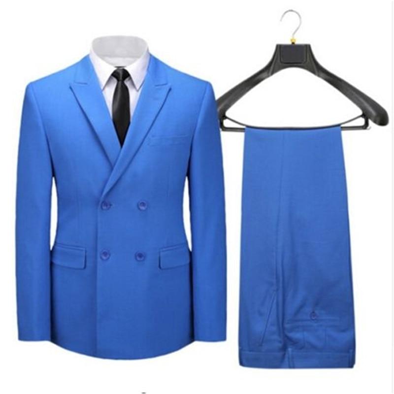 Customize made Wholesale men suit Slim Fit Luxury formal bule business suit mens slim fit wedding suits Pant( jacket+Pants) ...