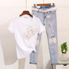 a8027827f Las mujeres Verano de 2019 nuevo Casual Camiseta con lentejuelas cuentas  arco patrón Camiseta de manga corta Tops + agujero pequ.