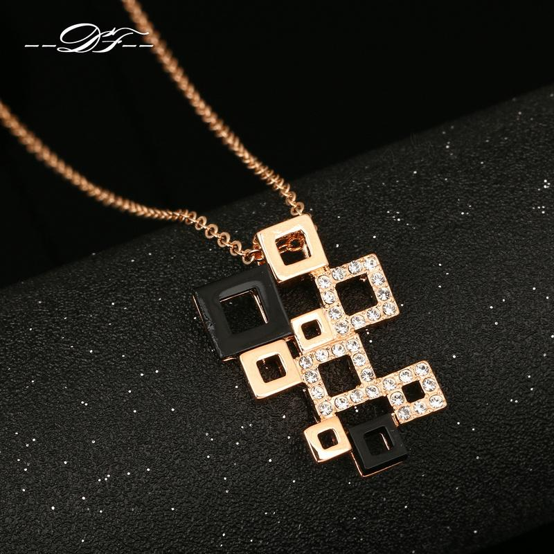Rose Gold Pated Cubic Zirconia Charm Necklaces&pendants Fashion Jewelry Crystal Acrylic For Women Crystal Chains colares DFN091