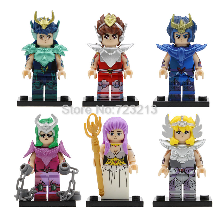 6pcs Bronze Saint Seiya Athena Cartoon Figure Set Saori Kido Ikki Hyoga Shun Building Blocks Sets Models Bricks Toys PG81286pcs Bronze Saint Seiya Athena Cartoon Figure Set Saori Kido Ikki Hyoga Shun Building Blocks Sets Models Bricks Toys PG8128
