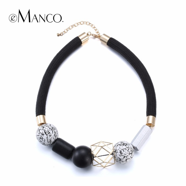 eManco Statement Necklace Fashion Jewelry Minimalist Ethnic Chokers Necklaces Women Black & White Wood Beads Choker 2017 for mom