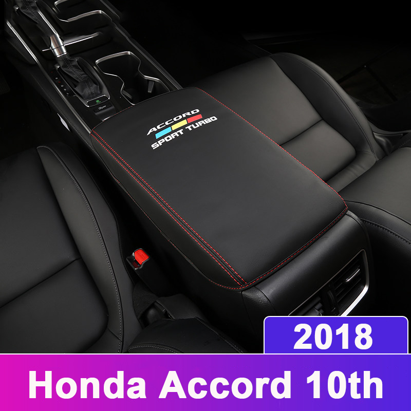Leather Car Armrest Pad Covers Console Auto Seat Arm Rest Pad Protection Cushion Mat AT For <font><b>Honda</b></font> <font><b>Accord</b></font> 10th <font><b>2018</b></font> <font><b>Accessories</b></font> image