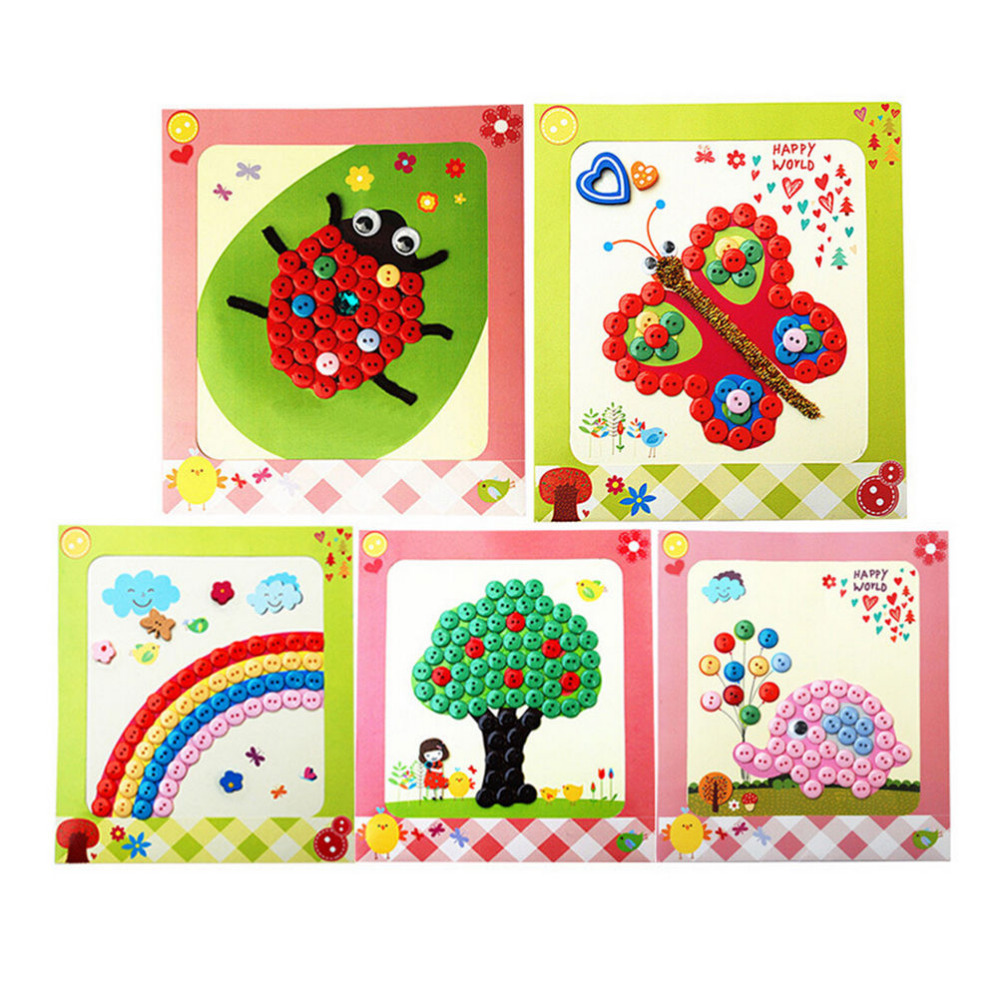 wholesale new 1 set material bag home kindergarten nursery educational kids diy picture buttons paste painting - Paint Drawing For Kids
