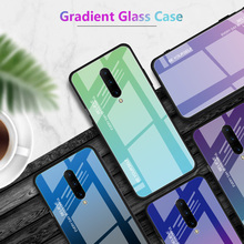 For Oneplus 7 Pro Aurora Gradient Tempered Glass Case Shockproof Hard Back Cover