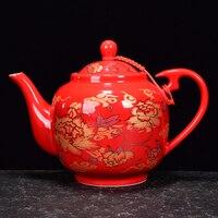 Red Glazed Roasted Golden Teapot Ceramic Household Kung Fu Da Hong Pao Black Tea Set Filter Handmade Tea Accessories Teaware