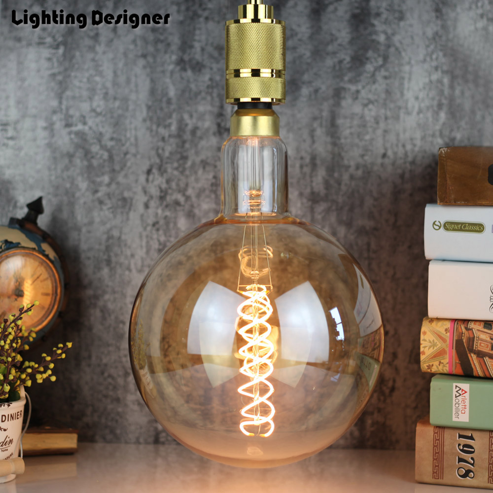 big size G200 edison led bulb E27 spiral light amber retro saving lamp vintage filament bulb