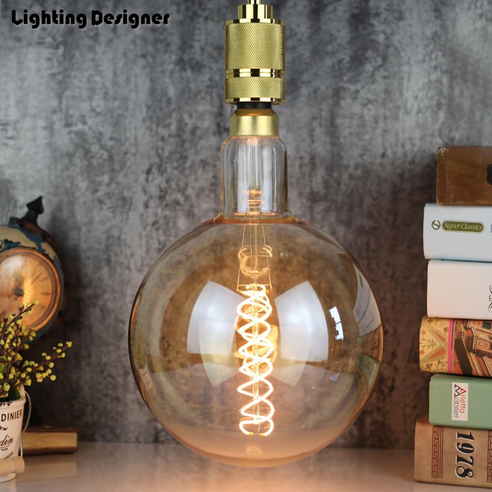 Grande taille G200 ampoule à LED Edison E27 spirale lumière ambre rétro économie lampe vintage filament ampoule Edison ampul lumière lustre 6 W