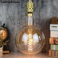 big size G200 edison led bulb E27 spiral light amber retro saving lamp vintage filament bulb Edison ampul light chandelier 6W