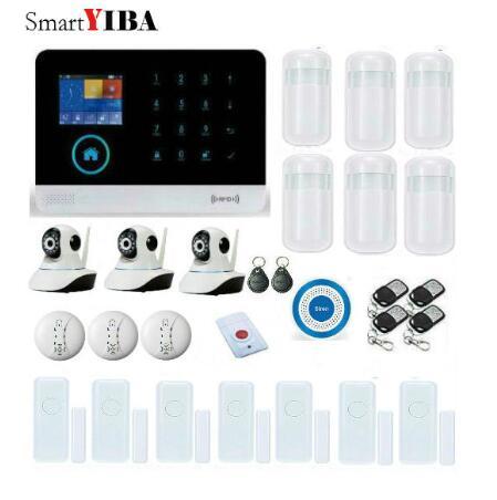 SmartYIBA WIFI Home Security font b Alarm b font System GSM Alarmes IP Camera Smoke Fire