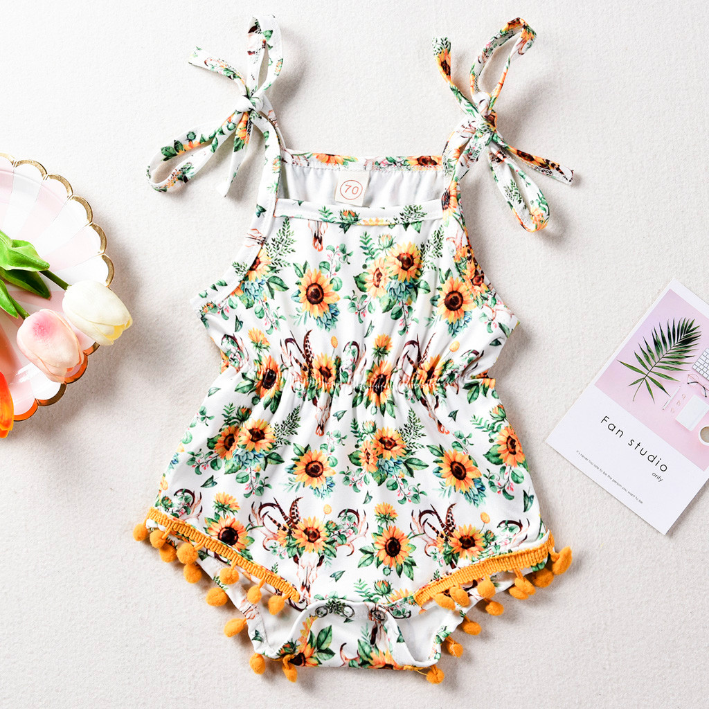 Baby Girl Clothes Cartoon Printed Sun Flower Tassel   Romper   Outfits Baby Clothes Baby Girl   Romper   Infantil Clothing Costume 0-24M