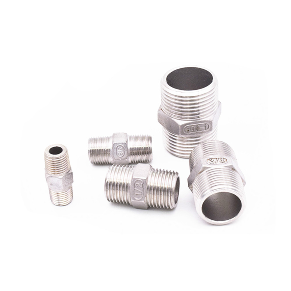 """1//8/""""-2/"""" Male to Male Hex Nipple Stainless Steel 304 Threaded Pipe Fitting BSPT"""