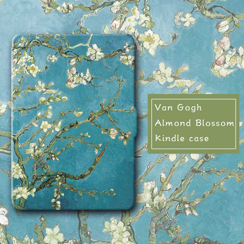 Van Gogh,Almond Bloom,Thinnest and Lightest Leather Cse Cover for Amazon Kindle Paperwhite 3 2013 2015 7th generation funda