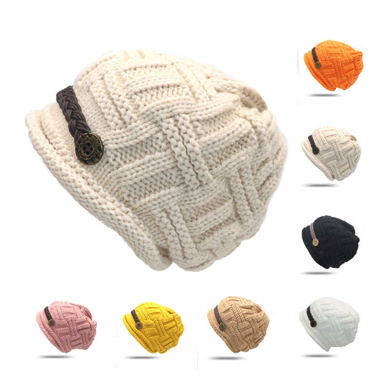 1pcs Elegant Lady Female Fashion Knitted Winter Cap Tuque Skullies Bonnet Winter Hats For Women Knitted Hats Beanie Women Gorros