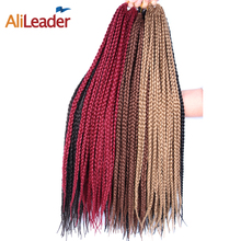 Alileader Crochet Braid Box Braids Long 30 Inch High Temperature Synthetic Braiding Hair Black Burgundy Blond Brown Crochet Hair(China)