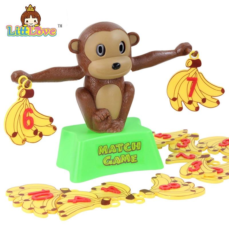 LittLove Funny Cute Monkey Bananas Сандар балансы Оқу қауіпсіздігі Пластикалық ойыншықтар Математикалық ойын ойындары Балаларға арналған мектепке дейінгі жастағы ойыншық
