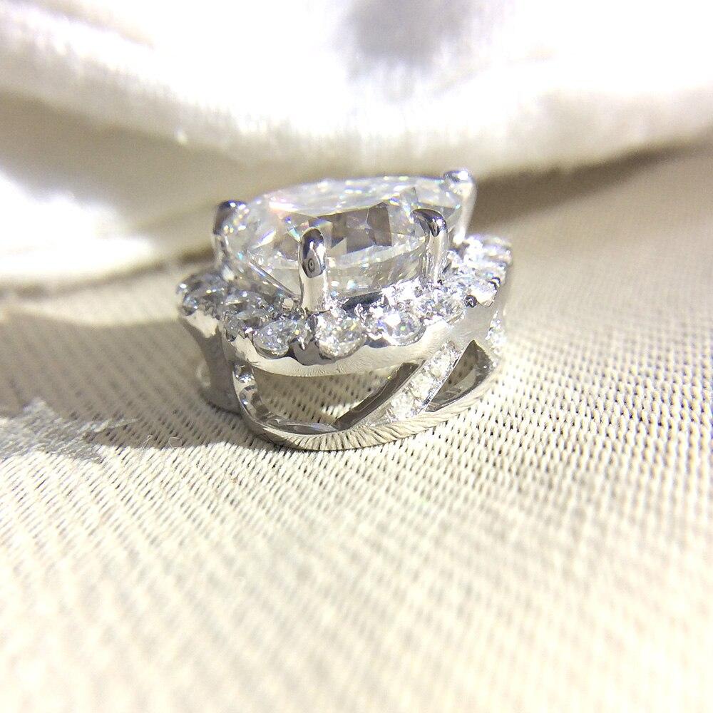 Echtes 18K 585 Weiß Gold DF Farbe 2ctw 8,0mm Test Positive Herz Cut Moissanite Diamant Anhänger Halskette Für frauen-in Halsketten aus Schmuck und Accessoires bei  Gruppe 3