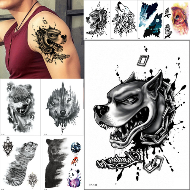 Trendy hot sale Waterproof Temporary Tattoo Sticker wolf tiger ...